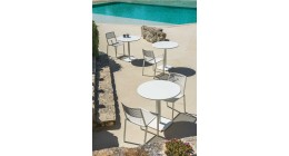 LIGHT BLUE Tonik Table and 4 x Easy Armchairs - Fast Outdoor Setting SALE
