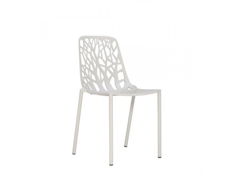NEW White Tonik Table 80diam and 4 x Powder Grey Forest Side Chair Setting - Fast Outdoor SALE