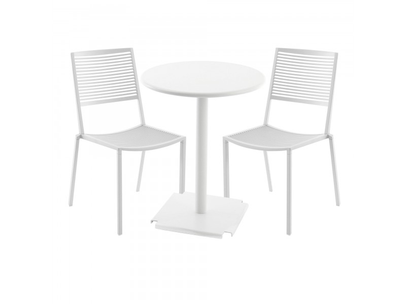 NEW Pearly Gold Tonik Table (60ø)  and 2 x Easy Side Chair Setting - Fast Outdoor SALE