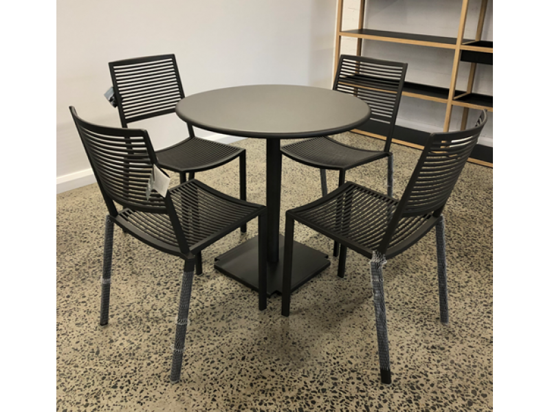SALE Outdoor Dining Set - Metallic Grey Tonik Table and 4 x Easy Chair - Fast Outdoor