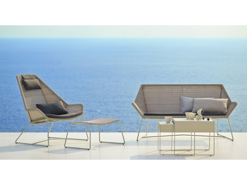 Breeze Lounge Highback In White Grey Caneline Outdoor