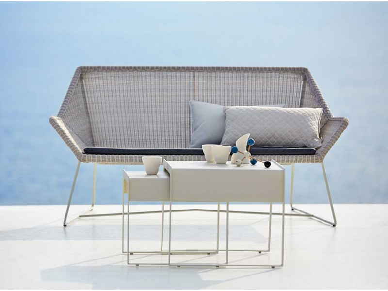 Breeze Two-Seater Sofa White Grey - Caneline Outdoor Chairs